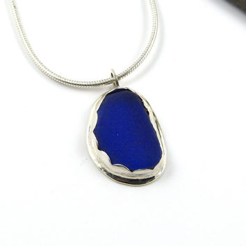 Tiny Cobalt Blue Sea Glass Pendant Necklace BETH