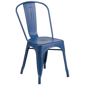 Indoor/Outdoor Blue and Curved Back Bistro Side Chairs
