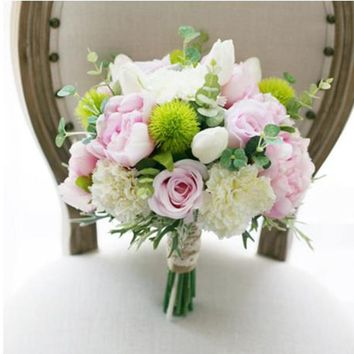 Artificial Real Touch Pink & Ivory Wedding Bouquet
