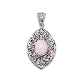 Pink Opal and Rhodolite Pendant