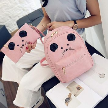 Women's Backpack Female Leather Mochila School Supplies Puese Tote Travel Backpacks For Adolescent Girls Gifts 2Pcs/Set 2017 New