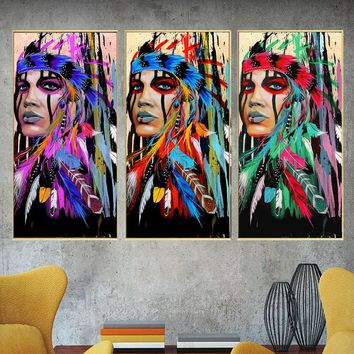 Modern Native American Indian Girl Feathered Canvas Oil Painting For Living Room Wall Art Prints Abstract Portrait Decor Picture
