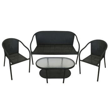 4-Piece Black Resin Wicker Patio Furniture Set - Loveseat 2 Chairs & Glass Top Table