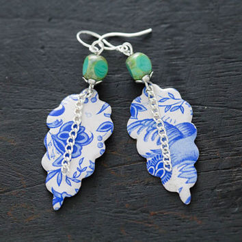 Blue and White Delftware Inspired Vintage Tin Earrings with Teal Czech Beads, Chain Earrings, Shabby Chic Earrings, Cottage Chic Earrings