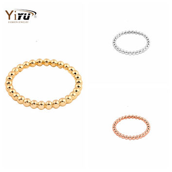 2016 Slim Stacking Ring Full Beaded Wire Simple Stack Skinny Ring Gold Plated For Women Party Gift New Fashion Cute Ring R033
