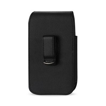 VERTICAL LEATHER POUCH HTC HD2 T8585 IN BLACK WITH MEGNETIC AND BELT CLIP