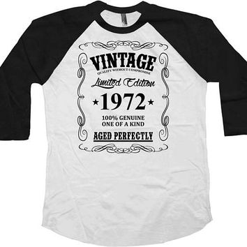 45th Birthday T Shirt Bday Gift Ideas Personalized TShirt Custom Year B Day Present Vintage 1972 Birthday Aged Perfectly Baseball Tee - BG45