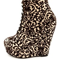 BAROQUE LACE-UP WEDGE BOOTIE