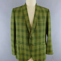 Vintage 1970s Blazer / 70s Jacket / 1960s Sports Coat / Olive Green Plaid / Martinelli / 60s Mid Century Mad Men Suit Coat