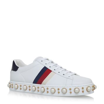 Gucci Ace Pearl Low Top Sneakers | Harrods.com