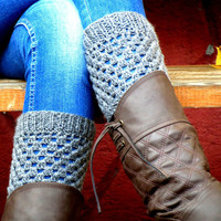 Grrey Short Square Knit Boot Cuffs. Short Leg Warmers. Crochet Boot Cuffs. Gray Legwear
