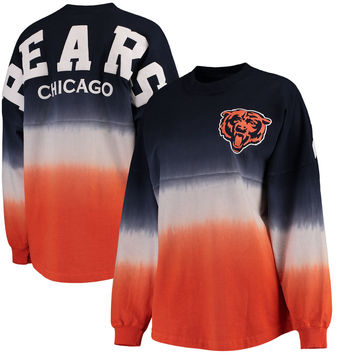 Women's Chicago Bears NFL Pro Line by Fanatics Branded Navy/Orange Spirit Jersey Long Sleeve T-Shirt