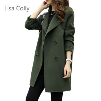 Lisa Colly Spring Autumn New fashion women's wool Jacket coat double breasted coat Women long sleeves Loose OL Outwear Coat