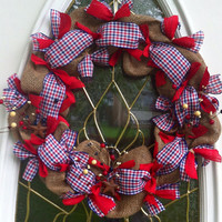 Patriotic Wreath in Burlap Deco Mesh