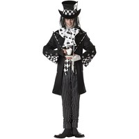 Dark Mad Hatter Costume - Adult (White/Black)