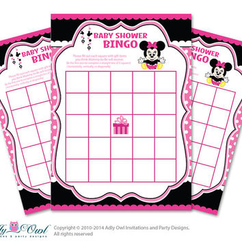 Black Pink  Minnie Mouse Bingo Game Printable Card for Baby Girl Shower DIY grey, Black Pink  Polka - ONLY digital file - oz9bs3