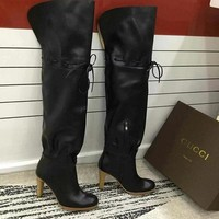 GUCCI Women Fashion Leather High Boots Heels Shoes