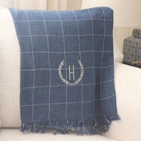 Custom Monogrammed Navy Checked Throw