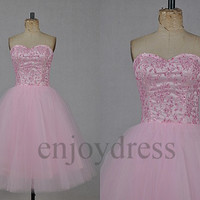 Custom Pink Beaded Short Bridesmaid Dresses 2014 Lovely Ball Gowns Party Dress Fashion Wedding Party Dress Evening Dresses Homecoming Dress