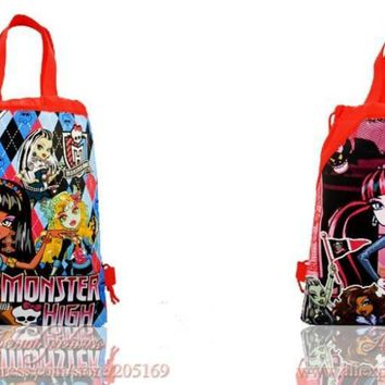 2Pcs/lot Monster High Cartoon Children Drawstring Backpacks School Party Bags,Non Woven Fabric,34*27cm,Birthday Party Gifts