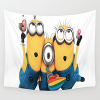 minions,graphic novel,happy,funny Wall Tapestry by Kareffsa