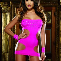 Neon Pink Cut Out Bandeau Mini Dress G-String Set