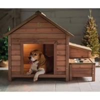 Solid Wood A-Frame Outdoor Dog House with Food Bowl & Storage
