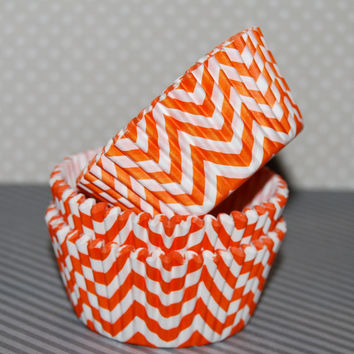 Orange Chevron cupcake liners (60) - baking cups muffin cups greaseproof cupcake papers cupcake wrappers zigzag cup cake papers