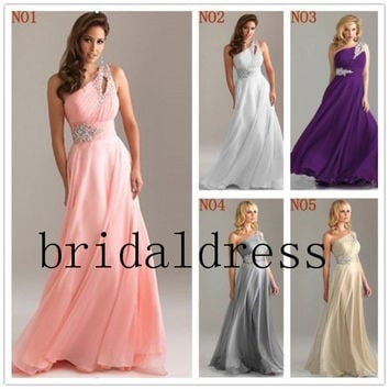 2015 beads one Shoulder wedding dress, Custom colors Homecoming Dress ,long Prom Dresses, Party Gown Cocktail Dresses Evening Dress Formal Dresses US SIZE = 1956825476