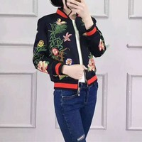 """Gucci"" Women Multicolor Embroidery Flower Long Sleeve Zip Cardigan Baseball Clothes Short Jacket Coat"
