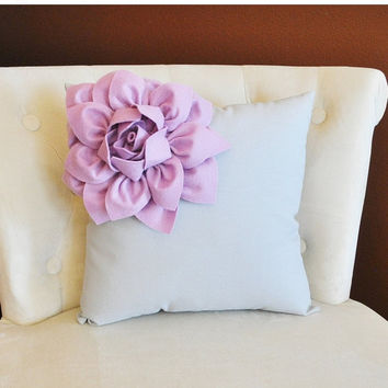 MOTHERS DAY SALE Lilac Corner Dahlia on Gray Pillow 14 X 14 -Flower Pillow- Baby Nursery Pillow