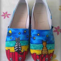 Cats in the Moonlight Custom Shoes / HandPainted