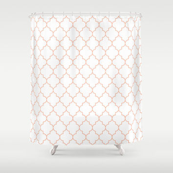 Shower Curtain - Peach Shower Curtain - Quatrefoil - Dorm Decor - Teen Shower Curtain - Girls Shower Curtain - Orange Shower Curtain