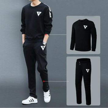 Sport Suit Men Set Sweatshirt Pants Tracksuit Bottom Pullover Jogger Fleece Sweatpants Spring Autumn Long Sleeve Shirt Men 2pcs