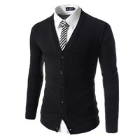 Solid Cardigan For Men 3647