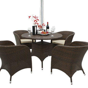 2017 Outdoor Wicker Dining Table Set Patio Furniture with 4 Chairs