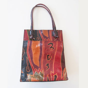 90s Vintage Hand Painted Ethnic Leather Purse | Hippie Boho Chic Leather Handbag | Ethnic Native Southwestern Bohemian Bag from India