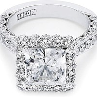 Tacori RoyalT Princess Pave Diamond Halo Engagement Ring