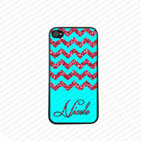 Monogram iPhone 5s case, Monogram Iphone 5 Case, Chevron Pattern(Not a real Glitter )iPhone 5 Cover,Monogram Case