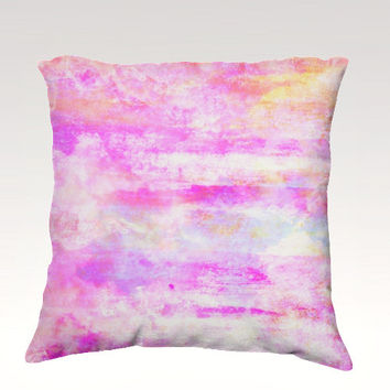 PRETTY IN PINK Fine Art Velveteen Throw Pillow Cover 18x18 Abstract Feminine Pastel Sweet Clouds Sky Art Modern Dorm Nursery Decor Painting