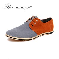 New Pattern Fashion Design Mixed Colors Real Suede Leather Men Casual Shoes Formal Dress Flat Oxford Shoes