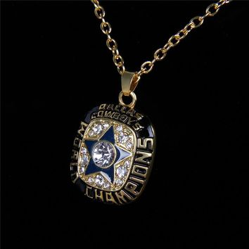 Hot Sell Sport Jewelry Dallas Cowboys Championship Pendants Necklace Crystal Star Jewelry For Men Women Fans