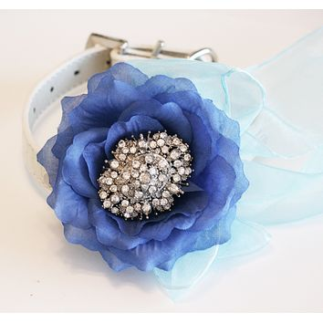 Blue Floral dog collar, Blue Wedding, Beach wedding, Ocean, Royal blue