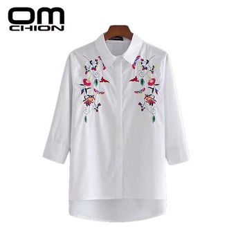 New Solid Three Quarter Shirts Women Casual Floral Printed Autumn Blouses
