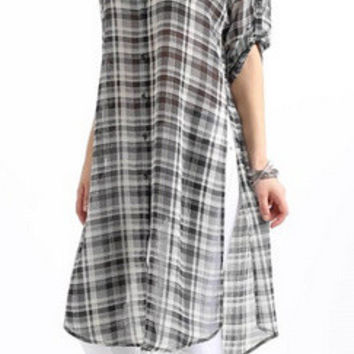 Plaid Extended Blouse