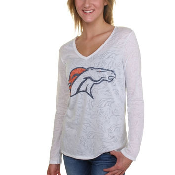 Women's Denver Broncos White Sublime Burnout V-Neck Long Sleeve T-Shirt