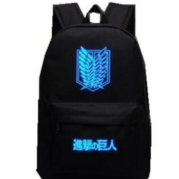 Cool Attack on Titan Hot noctilucence  Backpack Japan Anime Printing School Bag for Teenagers Cartoon Travel Bag Nylon Mochila Galaxia AT_90_11