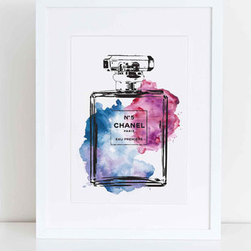 Chanel No5 blue & pink water colour digital art A4