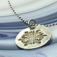 Snowflake Pendant Necklace, Fine Silver on Sterling Stripe Snake Chain