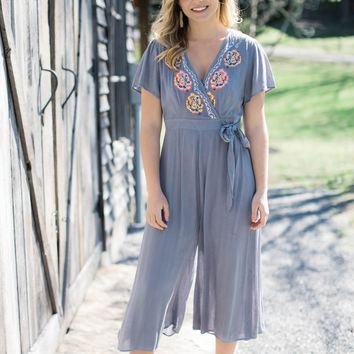 Ridgecrest Embroidered Jumpsuit, Grey